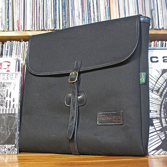 Original Peter Utrecht LP Record Hunting Bag (Black custom limited edition Rough Trade Records collaboration), front view