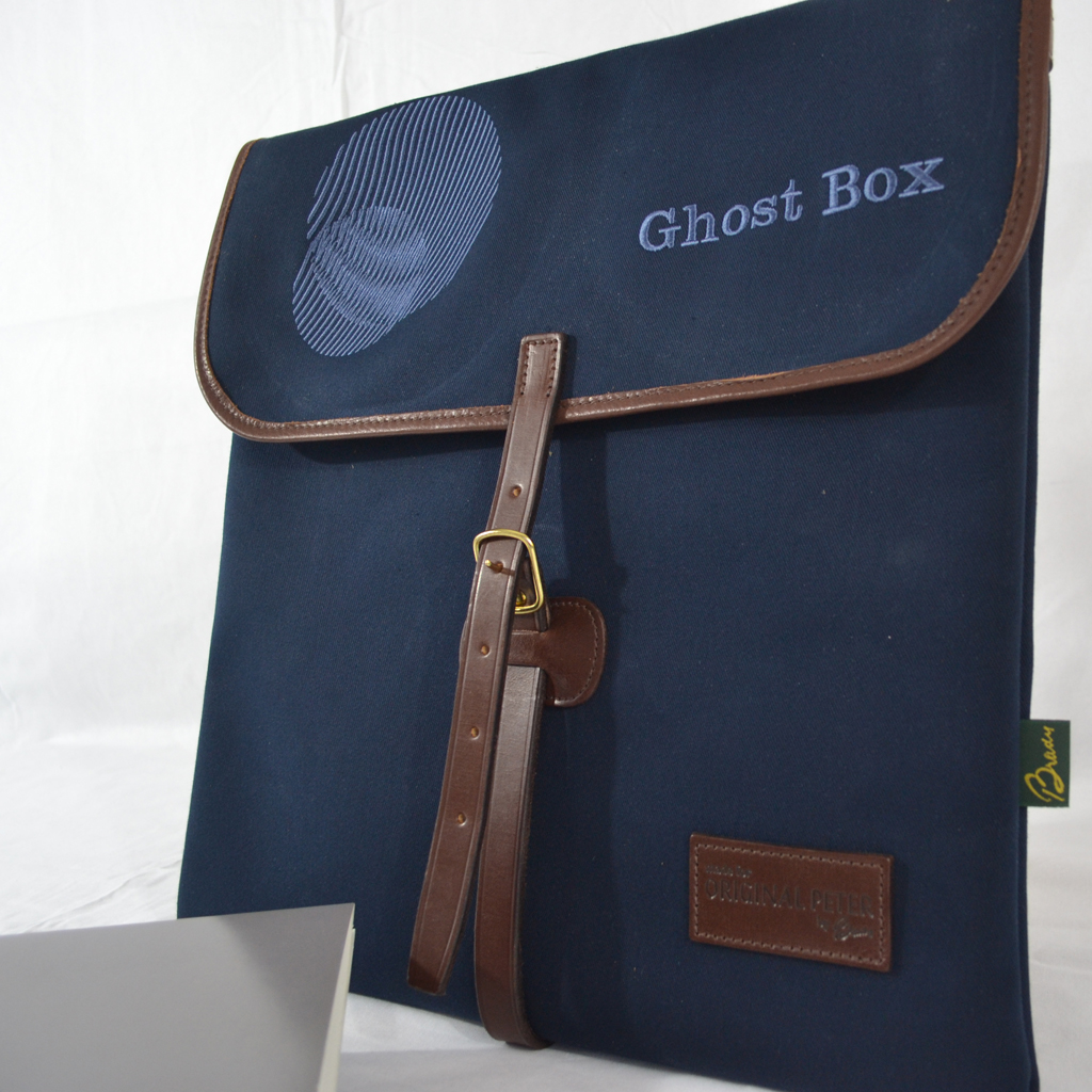 Original Peter Limited Edition Ghost Box Classic LP record hunting bag (Navy), front view.