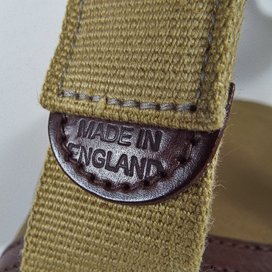 Original Peter leather patch detail showing high quality hand made in England manufacturing techniques.